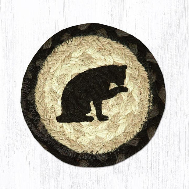 "Capitol Earth Rugs Individual Printed Braided Jute 5"" Coaster, Cat"