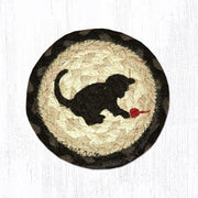 "Capitol Earth Rugs Individual Printed Braided Jute 5"" Coaster, Kitten"