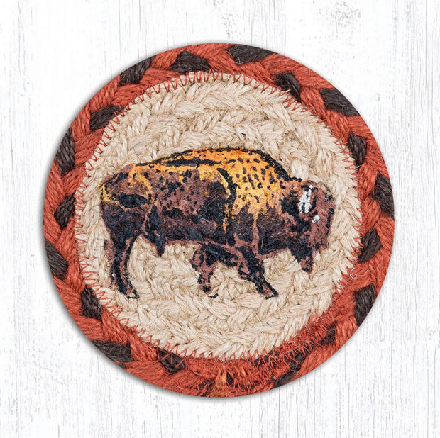 "Capitol Earth Rugs Individual Printed Braided Jute 5"" Coaster, Buffalo"