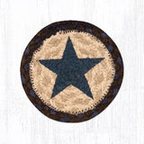 "Capitol Earth Rugs Individual Printed Braided Jute 5"" Coaster, Blue Star"