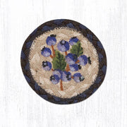 "Capitol Earth Rugs Individual Printed Braided Jute 5"" Coaster, Blueberry"