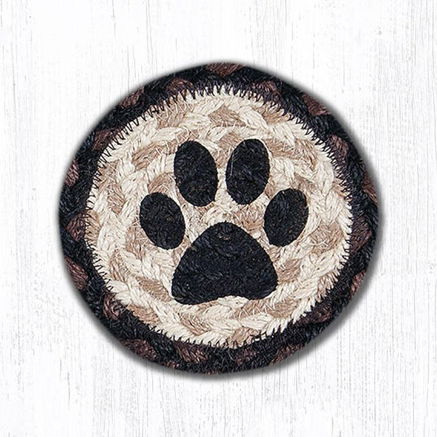 "Capitol Earth Rugs Individual Printed Braided Jute 5"" Coaster, Cat Paw"