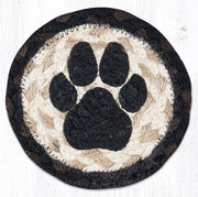 "Capitol Earth Rugs Individual Printed Braided Jute 5"" Coaster, Dog Paw"