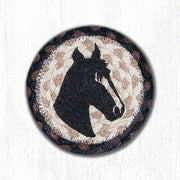 "Capitol Earth Rugs Individual Printed Braided Jute 5"" Coaster, Horse Portrait"