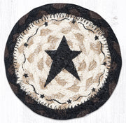 "Capitol Earth Rugs Individual Printed Braided Jute 5"" Coaster, Black Primitive Star"