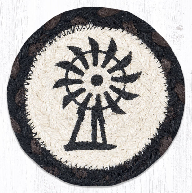 "Capitol Earth Rugs Individual Printed Braided Jute 5"" Coaster, Windmill"