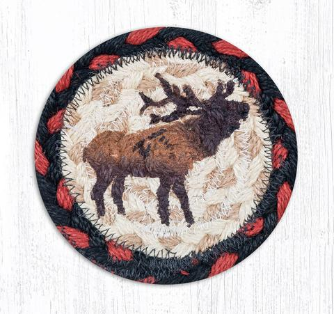 "Capitol Earth Rugs Individual Printed Braided Jute 5"" Coaster, Winter Elk"