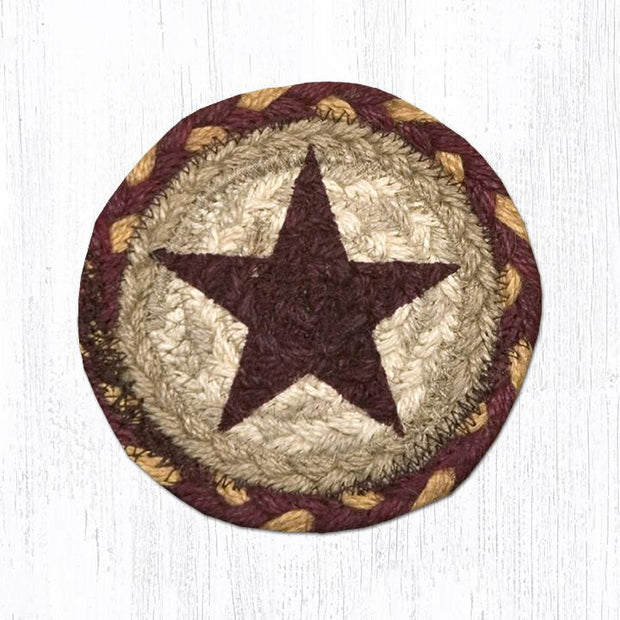 "Capitol Earth Rugs Individual Printed Braided Jute 5"" Coaster, Burgundy Star"