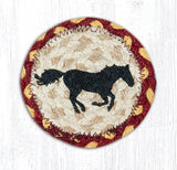 "Capitol Earth Rugs Individual Printed Braided Jute 5"" Coaster, Running Horse"