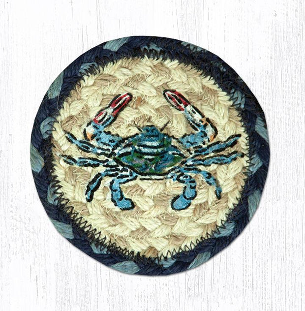 "Capitol Earth Rugs Individual Printed Braided Jute 5"" Coaster, Blue Crab"