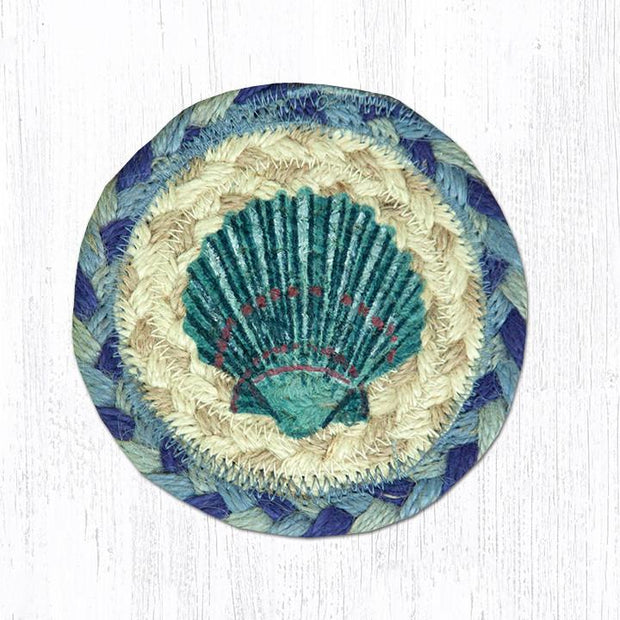 "Capitol Earth Rugs Individual Printed Braided Jute 5"" Coaster, Blue Scallop"
