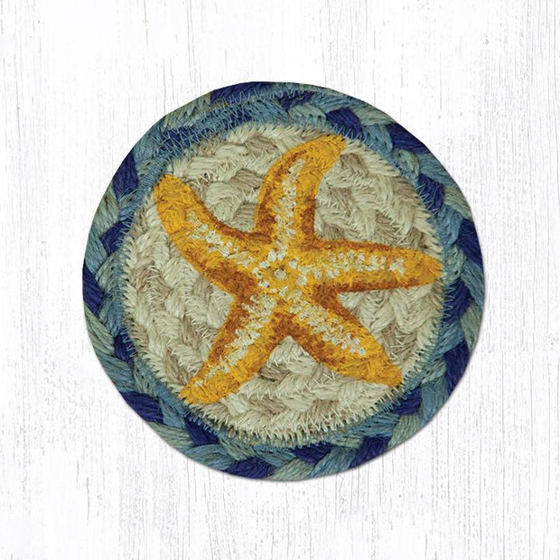 "Capitol Earth Rugs Individual Printed Braided Jute 5"" Coaster, Starfish"