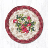 "Capitol Earth Rugs Individual Printed Braided Jute 5"" Coaster, Cranberries"