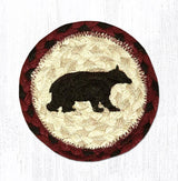 "Capitol Earth Rugs Individual Printed Braided Jute 5"" Coaster, Cabin Bear"
