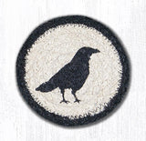 "Capitol Earth Rugs Individual Printed Braided Jute 5"" Coaster, Crow"