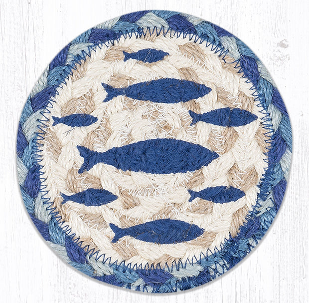 "Capitol Earth Rugs Individual Printed Braided Jute 5"" Coaster, Fish"