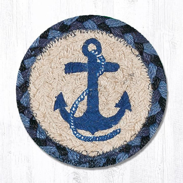 "Capitol Earth Rugs Individual Printed Braided Jute 5"" Coaster, Navy Anchor"