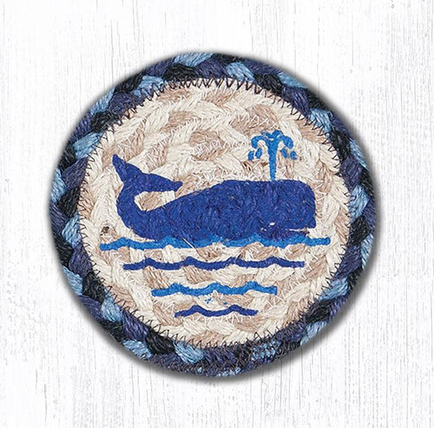 "Capitol Earth Rugs Individual Printed Braided Jute 5"" Coaster, Whale"