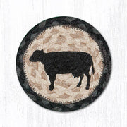 "Capitol Earth Rugs Individual Printed Braided Jute 5"" Coaster, Cow Silhouette"