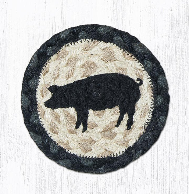 "Capitol Earth Rugs Individual Printed Braided Jute 5"" Coaster, Pig Sihouette"