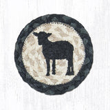 "Capitol Earth Rugs Individual Printed Braided Jute 5"" Coaster, Sheep Silhouette"