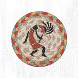 "Capitol Earth Rugs Individual Printed Braided Jute 5"" Coaster, Kokopelli"