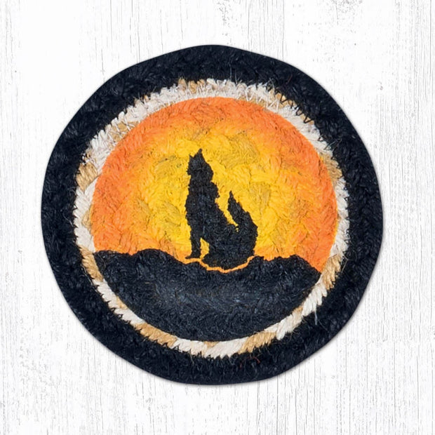 "Capitol Earth Rugs Individual Printed Braided Jute 5"" Coaster, Coyote Silhouette"