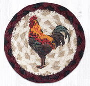 "Capitol Earth Rugs Individual Printed Braided Jute 5"" Coaster, Rustic Rooster"