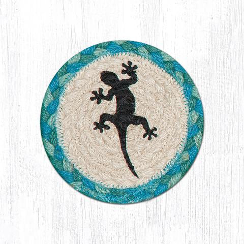 "Capitol Earth Rugs Individual Printed Braided Jute 5"" Coaster, Gecko"