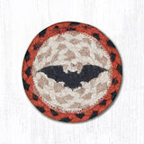 "Capitol Earth Rugs Individual Printed Braided Jute 5"" Coaster, Bat"
