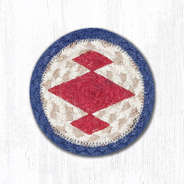 "Capitol Earth Rugs Individual Printed Braided Jute 5"" Coaster, Native 2"