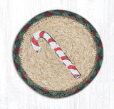 "Capitol Earth Rugs Individual Printed Braided Jute 5"" Coaster, Candy Cane"