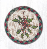 "Capitol Earth Rugs Individual Printed Braided Jute 5"" Coaster, Holly"