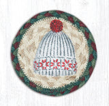 "Capitol Earth Rugs Individual Printed Braided Jute 5"" Coaster, Winter Hat"