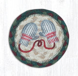 "Capitol Earth Rugs Individual Printed Braided Jute 5"" Coaster, Winter Mittens"