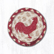 "Capitol Earth Rugs Individual Printed Braided Jute 5"" Coaster, Rooster Silhouette"