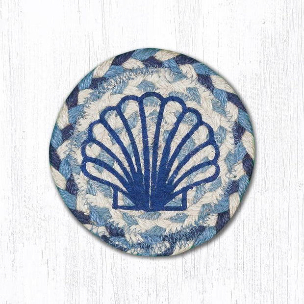 "Capitol Earth Rugs Individual Printed Braided Jute 5"" Coaster, Scallop"