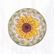 "Capitol Earth Rugs Individual Printed Braided Jute 5"" Coaster, Sunflower"