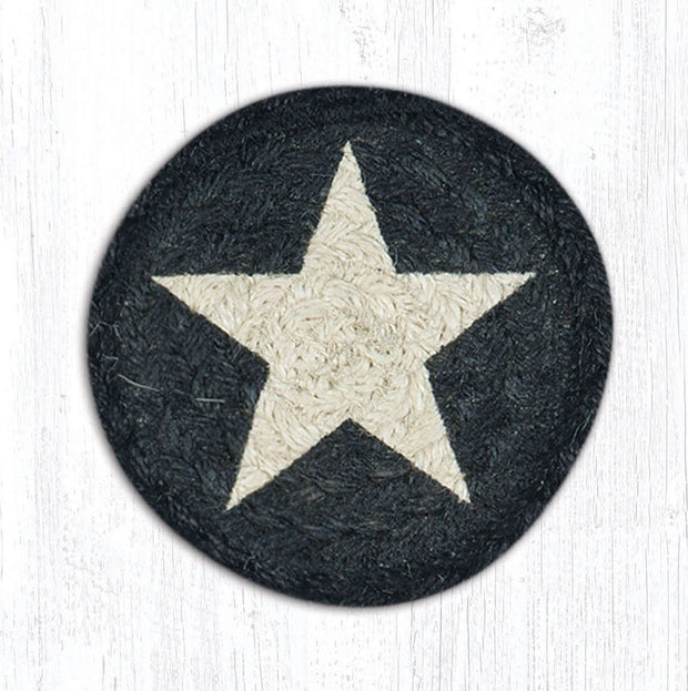 "Capitol Earth Rugs Individual Printed Braided Jute 5"" Coaster, White Star on Black"