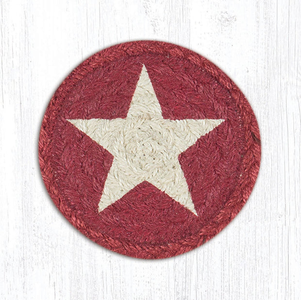 "Capitol Earth Rugs Individual Printed Braided Jute 5"" Coaster, White Star on Burgundy"
