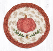 "Capitol Earth Rugs Individual Printed Braided Jute 5"" Coaster, Pumpkin Perfect"