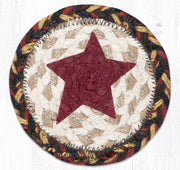 "Capitol Earth Rugs Individual Printed Braided Jute 5"" Coaster, Primitive Star"