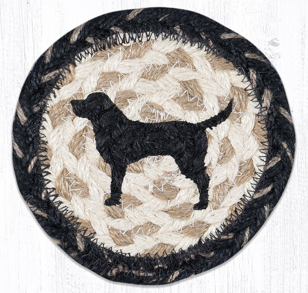 "Capitol Earth Rugs Individual Printed Braided Jute 5"" Coaster, Black Lab Silhouette"