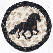 "Capitol Earth Rugs Individual Printed Braided Jute 5"" Coaster, Stallion"
