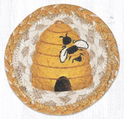 "Capitol Earth Rugs Individual Printed Braided Jute 5"" Coaster, Beehive"