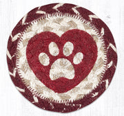 "Capitol Earth Rugs Individual Printed Braided Jute 5"" Coaster, Heart Paw"