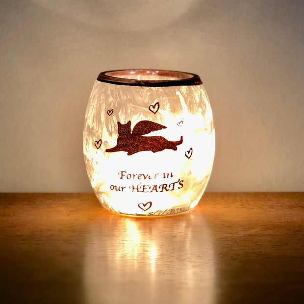 Beloved Cat Pre-Lit Glass Votive