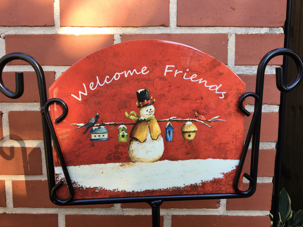 Snowman Welcome Home Garden Sign, Heritage Gallery