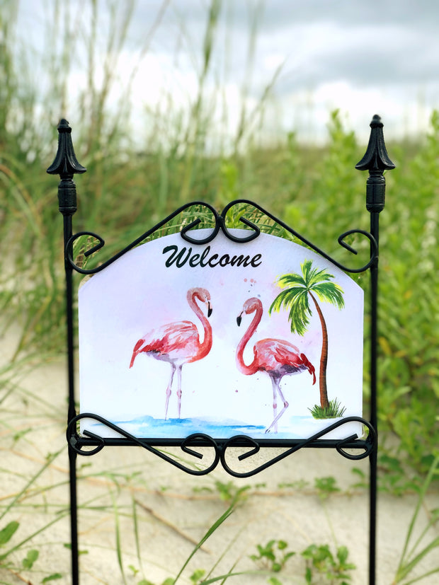 Heritage Gallery Flamingoes Welcome Garden Sign