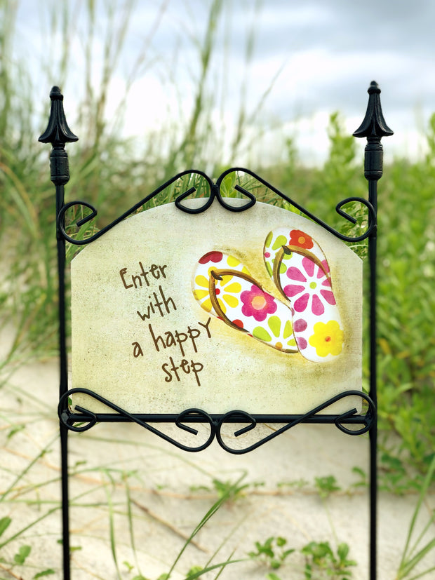 Heritage Gallery Happy Step Flip Flops Garden Sign